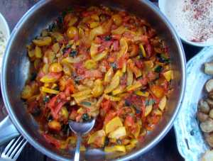 Tomatoes, yellow squash and peppers