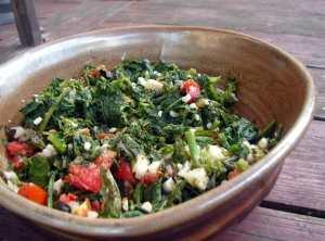 Broccoli rabe, corn, basil, tomatoes and mozzarella