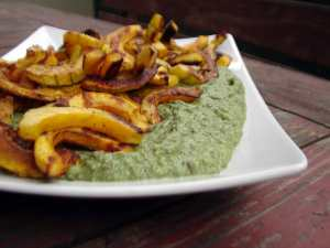 Roasted delicata squash with spinach white bean purée.