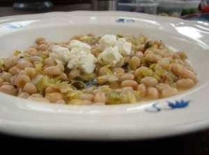 Leeks, white beans, & French feta