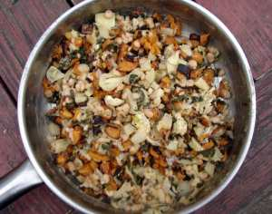 Navy beans with fennel and roasted sweet potatoes