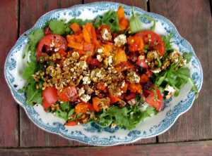 Roasted beet and pepper salad.