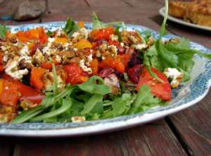 Roasted beet and red pepper salad with pistachios and goat cheese