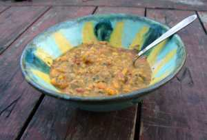 Red lentil, red bean, and yellow split pea curry