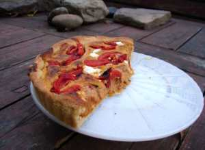 Roasted butternut and red pepper pie