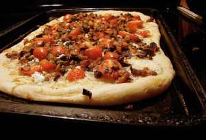 Sweet potato and shallot pizza