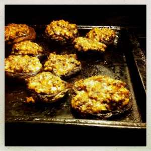 Black bean and pecan stuffed mushrooms
