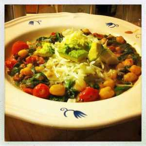 Chickpeas, spinach, black beans and avocado
