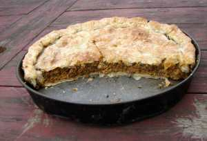 Roasted butternut, french lentil and nut pie.