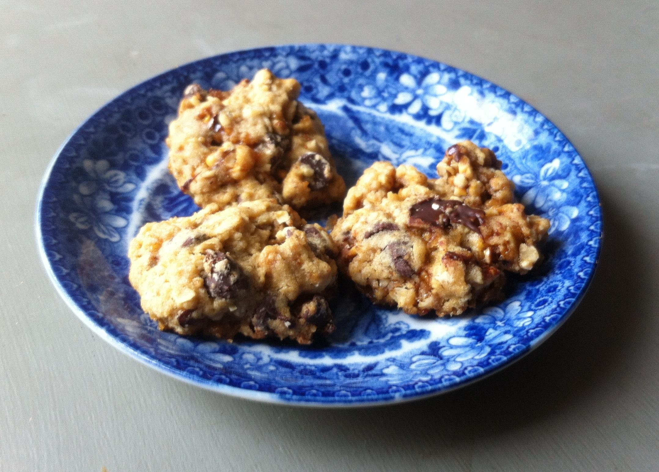 Oatmeal chocolate chip pecan praline cookies