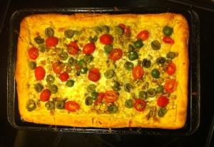 White bean, olive and pistachio pizza