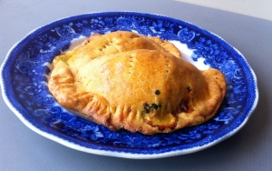 Roasted golden beet, raisin and pistachio empanadas