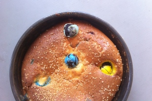 Cadbury mini-egg clafoutis