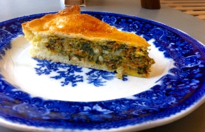 Roasted butternut, raisin, spinach and pine nut pie