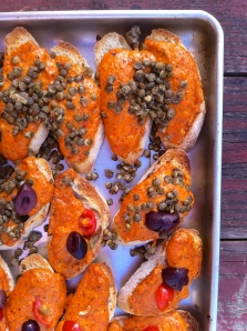 Red pepper and hazelnut crostini
