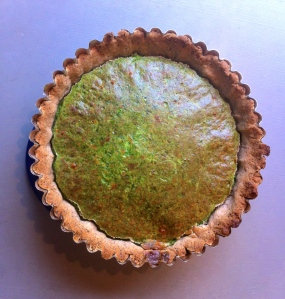 Spinach, tarragon and ricotta quiche with a pecan crust