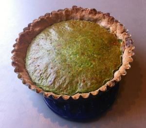 Spinach, ricotta, tarragon quiche