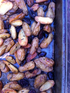 Roasted potatoes, olives and rosemary