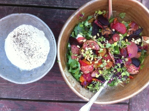 Beet, arugula and French feta salad