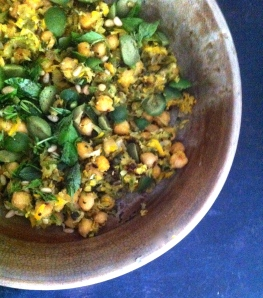 Summer squash with chickpeas, raisins, olives and basil
