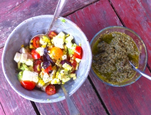 avocado corn salsa and pesto