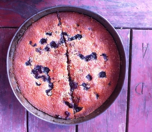 Almond cake with blueberry and chocolate filling