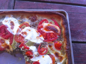 Lentil, tomato and pesto tart