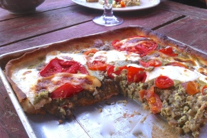 Tomato, pesto, french lentil tart