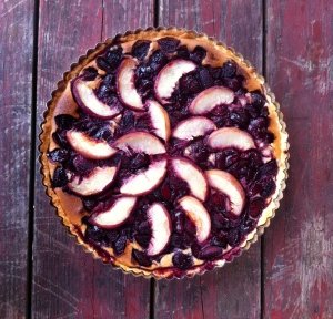 Cherry peach chocolate almond tart