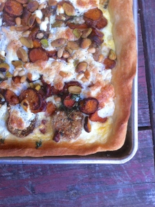 Sweet potato and eggplant tart with pine nuts and pistachios