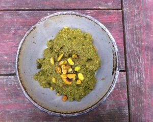 Kale, castelvetrano and pistachio purée