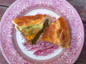 Turnip, spinach and walnut pie