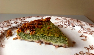 Chard and goat cheese tart with a mashed potato pecan crust