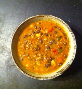 Red lentil and red rice chili