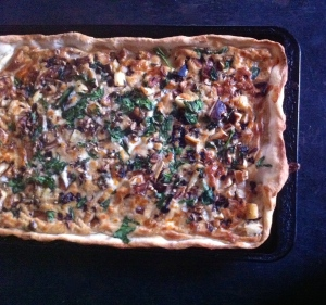 Pecan, parsnip and shallot pizza