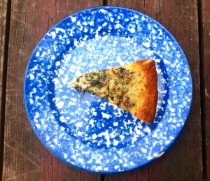 chard, raisin, pine nut and chickpea flour tart