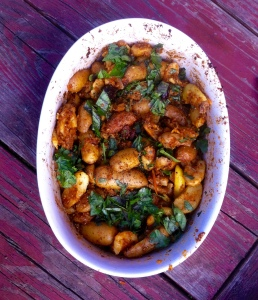 Smoky spicy potatoes with olives capers and artichoke hearts