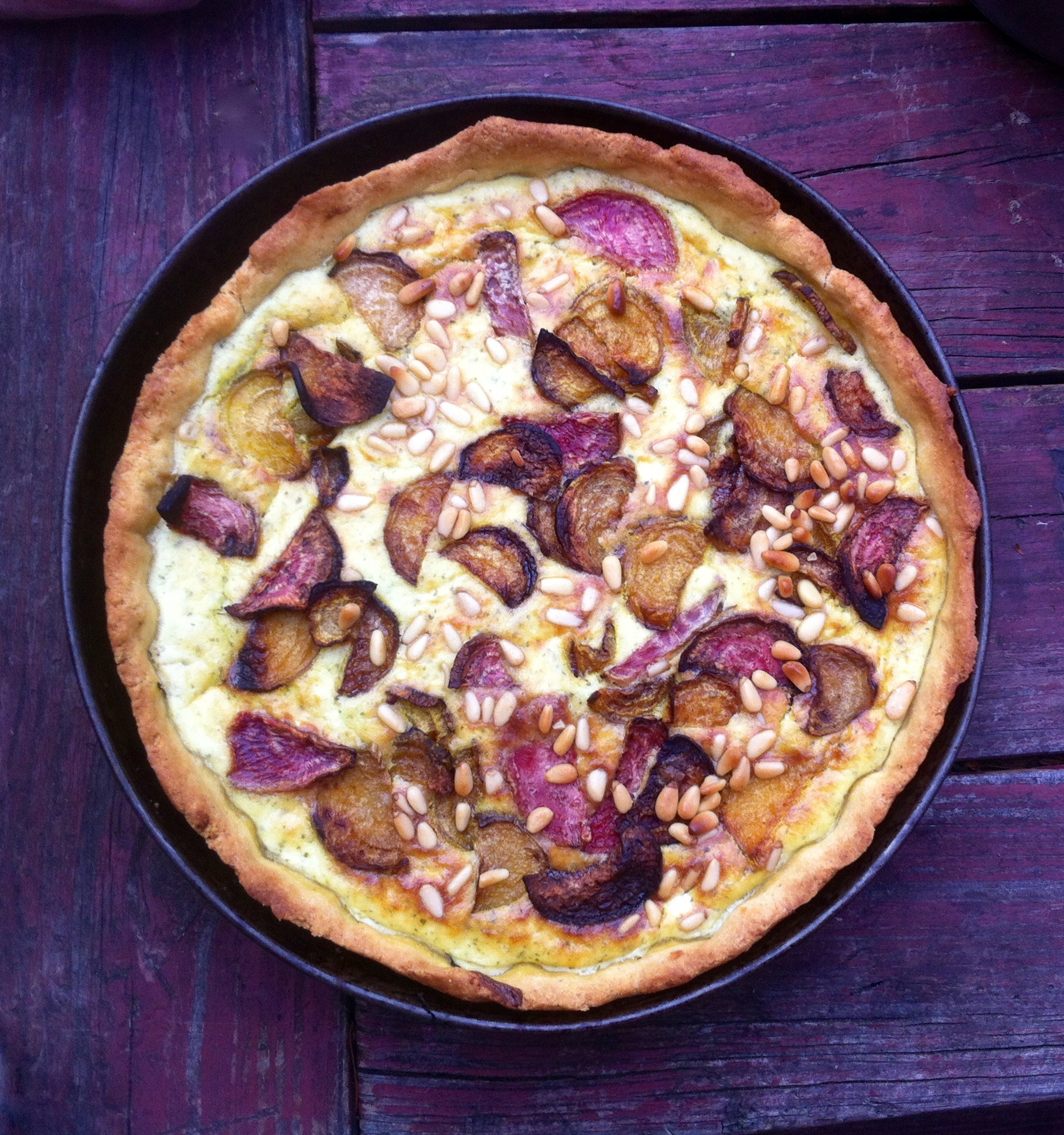Ricotta and lemony herb tart with roasted beets and pine nuts | Out of ...