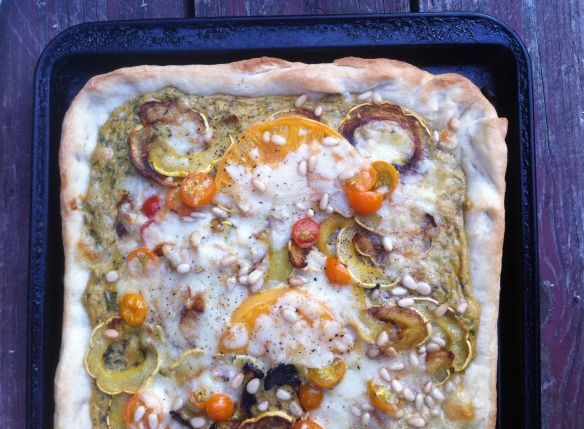 Pizza with pistachio herb pesto and roasted delicata squash